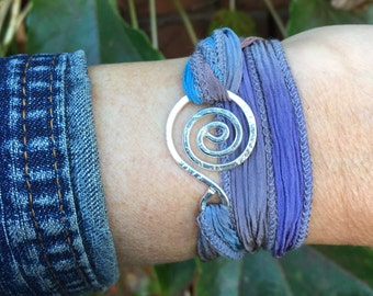 Swirly Wrap Bracelet in Sterling Silver