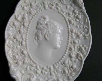 Fostoria Cameo Milk Glass Vanity Tray Jenny Lind Dish Plaque