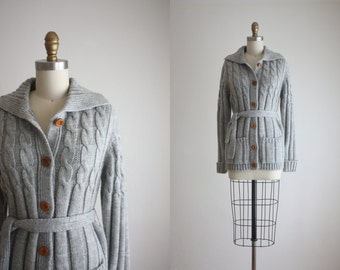 belted dove grey cardigan