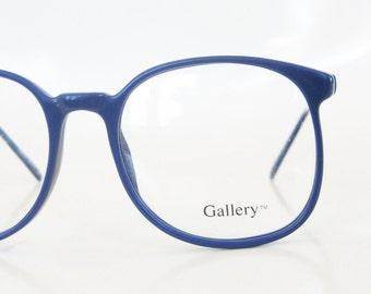 Vintage 1980s Round Eyeglasses Dark Navy Blue Black 80s Womens Ladies Geek Chic Nerdy Indie Hipster Deadstock Retro NOS New Old Stock