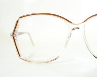 1970s Oversized Gold Eyeglasses Women's Geek Chic Huge Nerdy Metallic 70s Retro Deadstock NOS New Old Stock Seventies Glasses
