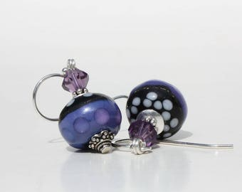 Purple, Black and White Polka Dots Lampwork Glass Bead Earrings, Glass Bead Earrings, Sterling Silver, Swarovski Crystals, Bali Silver, OOAK