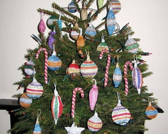 50% OFF SALE Instant Digital File pdf download knitting pattern - Christmas Tree Baubles and Decorations pdf download knitting pattern