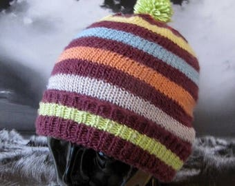 50% OFF SALE Instant Digital File pdf download Stripe Bobble Pom Pom Beanie Hat knitting pattern pdf download
