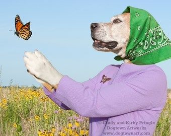 If You Love Something Set it Free, large original photograph of Boxer dog wearing vintage clothes and releasing a monarch butterfly