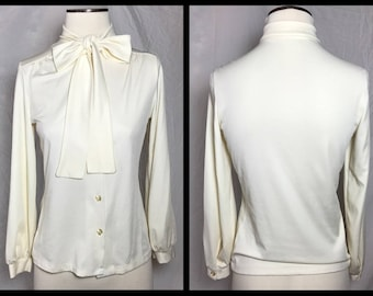 1970s Cream Polyester Bow Tie Blouse - Size 34