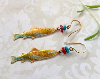 Earrings Hand Patina Brass, Turquoise And Coral Dangles