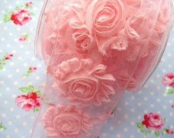 Shabby Chic Frayed Flower Trim - Pink - 2 1/2 inch - 1 Yard