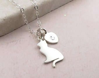 Personalised Cat Lover Necklace - sterling silver, initial necklace