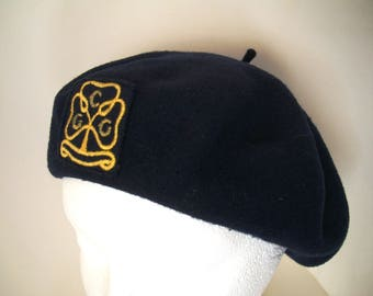 Girl Guide Official Beret Pure Wool Felt Circa 1960s Vintage GGC Emblem Navy Blue Girl Guides of Canada Scouts Wool Tam Wool Beret Parkhurst