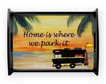 RV camper sunset beach serving tray from my art, available in 2 sizes and styles