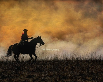 Cowboy - Cowboy and Horse - Working Cowboy - Controlled Fire - Flint Hills - Praire Tallgrass - Fine Art Photography