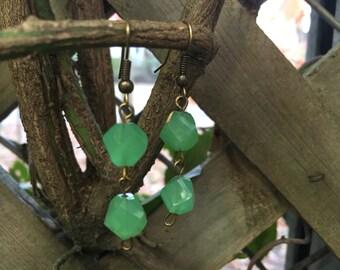 Green Polygon Dangle Earrings