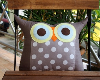 Use coupon codes/Home decor/plush owl pillow/Grey/dots /Linen/dots Owl Pillow/for him/baby soft toys/
