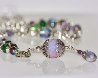 Jewel Tone Necklace & Earrings. Bohemian Style Jewelry Set.