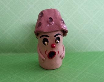 Morel Mushroom Folk Art Wine Cork Man Art Doll