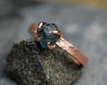 Raw Montana Sapphire on 14k Recycled Gold Ring- Made to Order