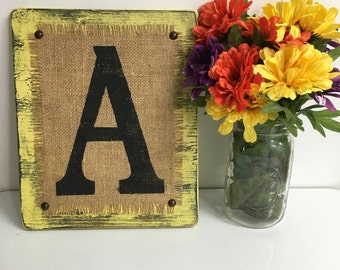Vintage Yellow Distressed BURLAP Sign ready to Hang, Burlap Sign, Sign, Sign, Monogram Sign, Monogram, MONOGRAM sign, Burlap monogram sign