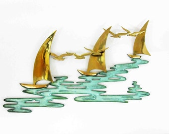 Vintage Brass Seagulls and Sailboats at Sea Wall Hanging. Circa 1970's - 1980's.