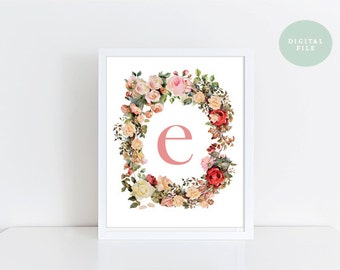 Monogram Wall Art // Letter E  // Vintage Florals  // INSTANT DOWNLOAD