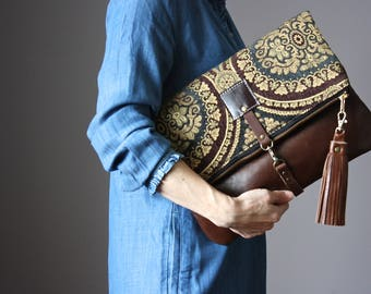 Large Leather fold over clutch, crossbody bag, fold over purse, carpet bag, tapestry fabric and chocolate leather clutch with leather tassel