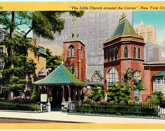 Vintage New York City Postcard - The Little Church Around The Corner (Unused)