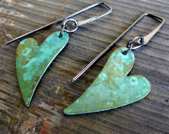 Verdigris earrings. Copper heart patina jewelry with oxidized sterling silver. Mixed metal organic dangles. Heartfelt.
