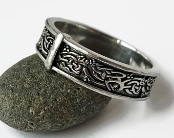 Choice of 3 rings - Celtic Knot - Sterling & Steel - Sporran Key band - Filigree Leaves - Blade and Bow ring - Sassenach style - all sizes