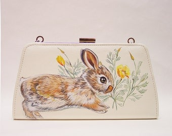 Hop little bunny! handpainted clutch purse - one of a kind ivory faux leather evening bag with rabbit and California Poppies