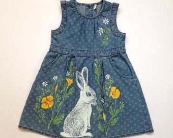 Bunnies and wildflowers dress - screenprinted and handpainted, one of a kind - toddler baby girls size 24 months