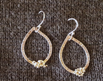 Hammered Sterling Teardrop Earrings with Bubble Detail