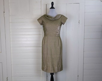 60s Cocktail Dress in Metallic Taupe- Silver & Gold Party Dress- Short Sleeves- Wiggle- Large
