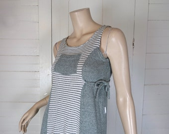 90s Comfy Grunge Dress in Sage Green Striped= 1990s Tank Dress- Thermal- Small