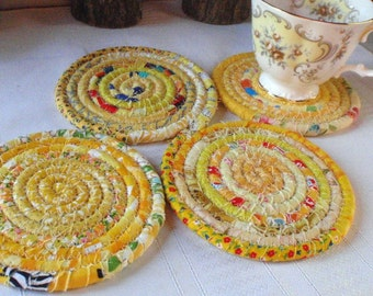 Yellow Bohemian Coiled Fabric Coasters - Set of 4 - Handmade by Me