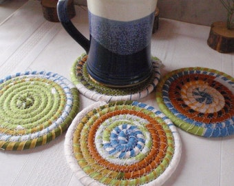 Absorbent Coiled Fabric Coasters - Set of 4 for Kitchen, Entertaining, Hostess Gift, Handmade by Me