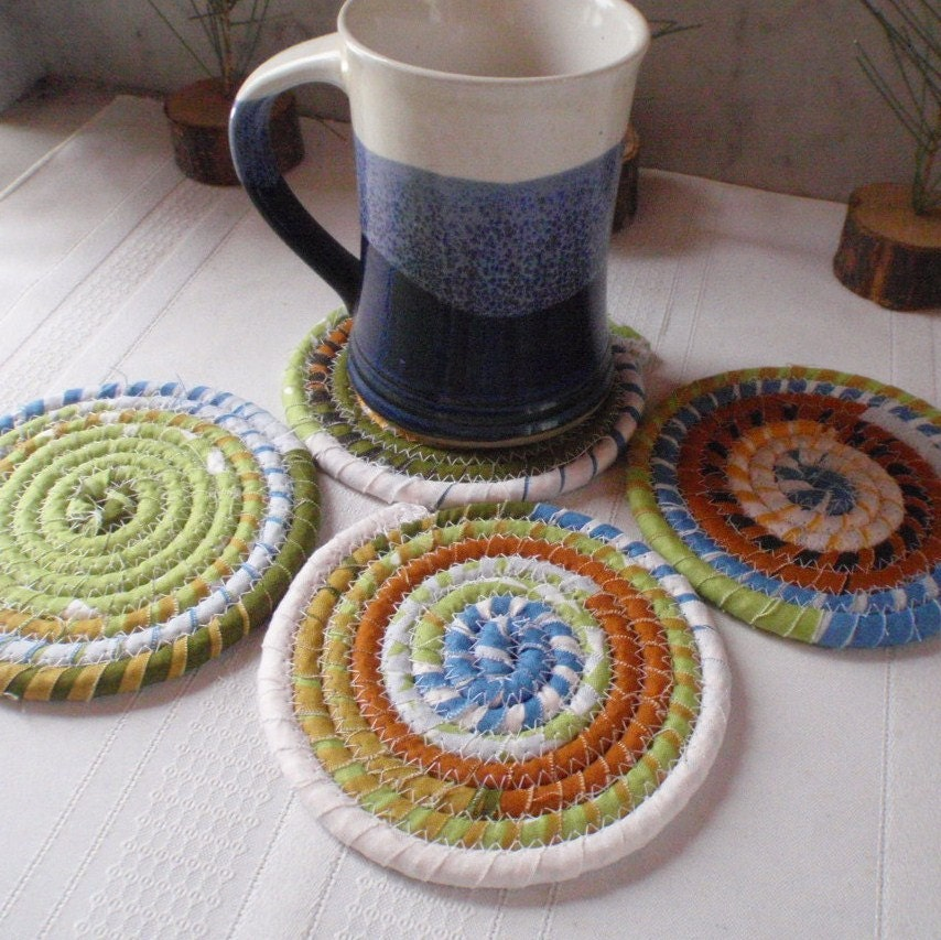 Absorbent Coiled Fabric Coasters Set of 4 for Kitchen