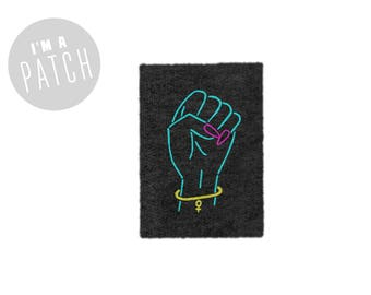 Neon Girl Power Patch - Hand Printed Sew On Feminist Patch in Heather Black & Neon