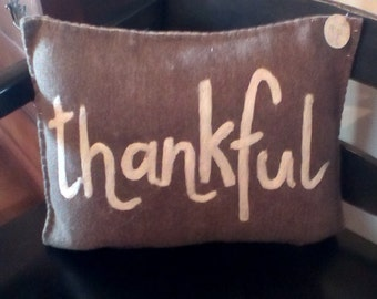 Thankful wool pillow