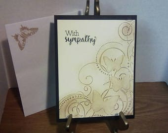 Sympathy card, blank inside,butterfly card