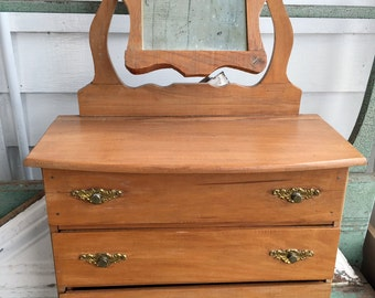 Antique Doll Dresser Pine Wood With Swivel Mirror Old Primitive