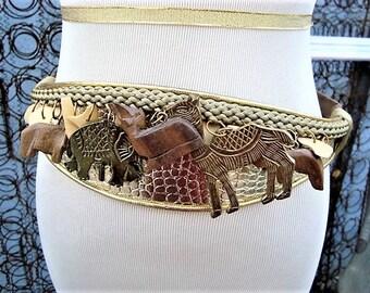 1980s Carolyn Tanner Wood & Brass Safari Animals Beige N Gold Wide Belt