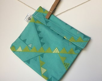 Reusable eco friendly washable Sandwich - bunting on turquoiuse