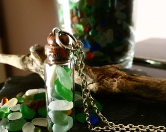 Irish Sea Glass Bottle Pendant - Mermaid's Tears