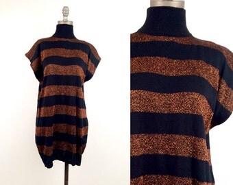 vintage 80s COPPER + BLACK wide stripe TUNIC sweater S-L