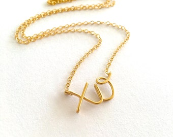 XO Gold Necklace. 14k gold filled xo necklace. Aziza Jewelry