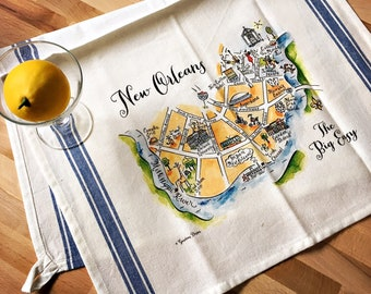 New Orleans Map Kitchen/Tea Towel