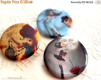 Spring cleaning sale Pick 3 illustrated pinback buttons - 1.25""