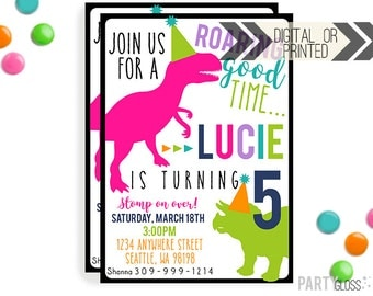 Dinosaur Invitation | Digital or Printed | Girl Dinosaur Party | Modern Girl Dinosaur Invitation | Dino Invitation | Girly Dinosaur
