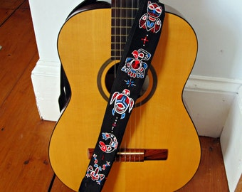 Haida Totem Pole Adjustable Guitar Strap- Custom Made-Hand Embroidered Frog, Thunderbird, Salmon, Turtle, Owl