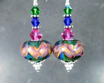 Colorful Glass Crystal Sterling Silver Dangle Earrings, Green Blue Pink Peach Boho Chic Jewelry, Gypsy Earrings, Boro Lampwork Earrings